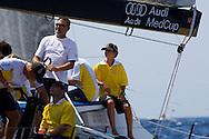 Manuel Pena (right) on board Valars during the practice race of the AUDI Medcup in Cartagena