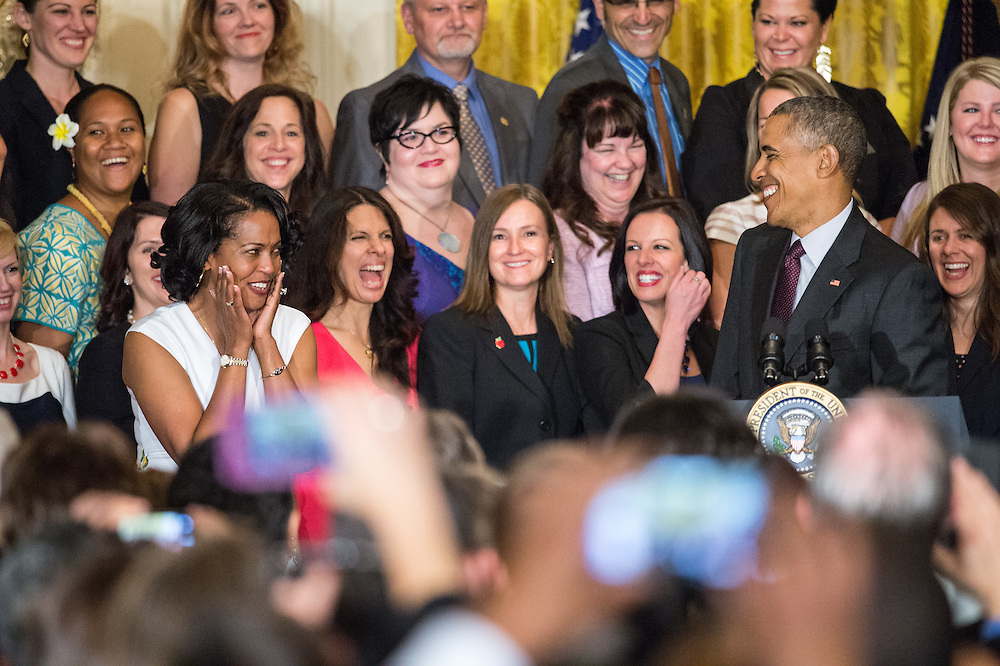 U.S. President Barack Obama honors Jahana Hayes as 2016 National Teacher of the Year in the East Room of the White House May 3, 2016. Hayes is a veteran history teacher at John F. Kennedy High School in Waterbury, Connecticut. Obama thanked her and the finalists for their hard work and dedication each and every day in the classroom. Secretary of Education John B. King Jr. also attend. Photo Ken Cedeno/UPI