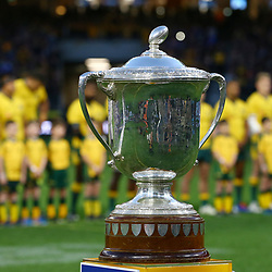 The Bledisloe Cup is shown before