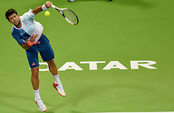 DOHA, Jan. 7, 2017  Fernando Verdasco of Spain serves to Novak Djokovic of Serbia during the men's singles semifinal of the ATP Qatar Open tennis tournament at the Khalifa International Tennis Complex in Doha, capital of Qatar, on Jan. 6, 2017. Fernando Verdasco lost 1-2.  wll) (Credit Image: © Nikku/Xinhua via ZUMA Wire)