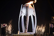 PYEONGCHANG-GUN, SOUTH KOREA - FEBRUARY 09: The Olympic flame is lit during the Opening Ceremony of the PyeongChang 2018 Winter Olympic Games at PyeongChang Olympic Stadium on February 9, 2018 in Pyeongchang-gun, South Korea. Photo by Nils Petter Nilsson/Ombrello     ***BETALBILD***