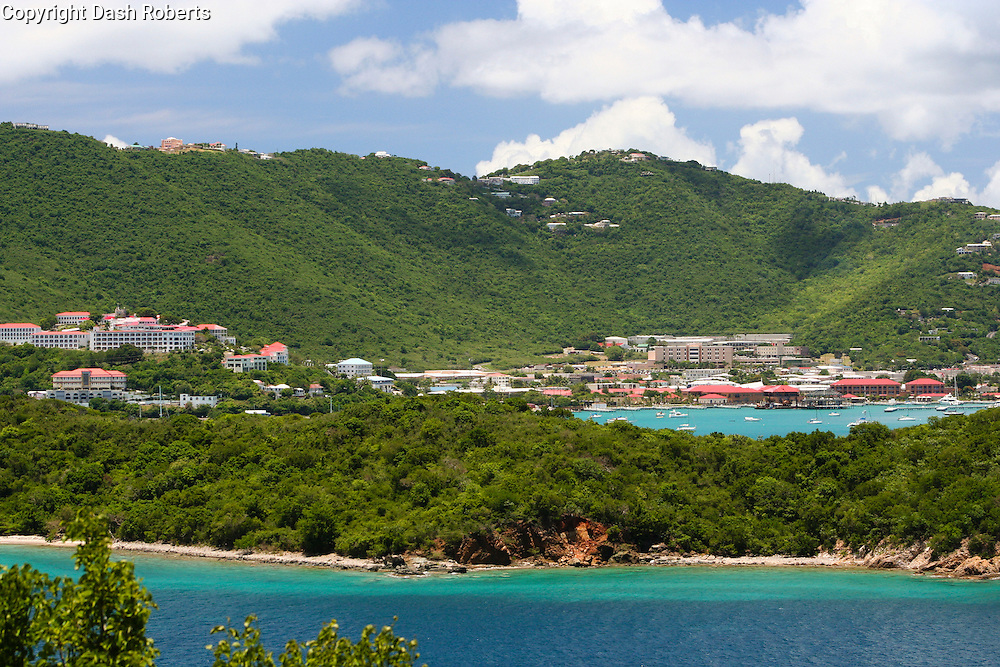 A view of Charlotte Amalie, St. Thomas, USVI taken from Water Island located just off the coast of St. Thomas.