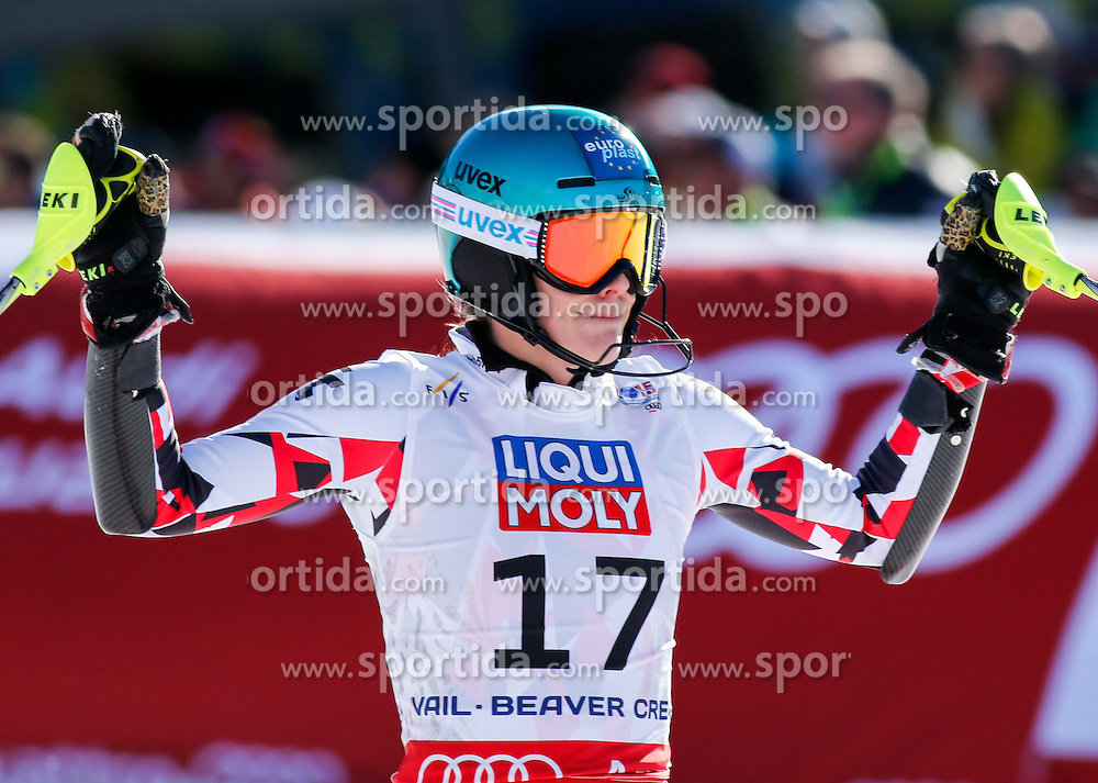14.02.2015, Birds of Prey, Beaver Creek, USA, FIS Weltmeisterschaften Ski Alpin, Vail Beaver Creek 2015, Damen, Slalom, im Bild Carmen Thalmann (AUT) // Carmen Thalmann of Austria reacts during the ladie's Slalom of FIS Ski World Championships 2015 at the Birds of Prey in Beaver Creek, United States on 2015/02/14. EXPA Pictures &copy; 2015, PhotoCredit: EXPA/ SM<br /> <br /> *****ATTENTION - OUT of GER*****