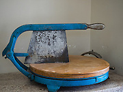 Antique cheese wheel cutter at Point Reyes Farmstead