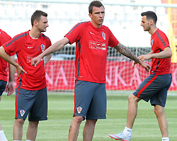 11.06.2015, Stadion Poljud, Split, CRO, UEFA Euro 2016 Qualifikation, Kroatien vs Italien, Gruppe H, Training Kroatien, im Bild Marcelo Brozovic, Mario Mandzukic // during trainig of Team Croatia prior to the UEFA EURO 2016 qualifier group H match between Croatia and and Italy at the Stadion Poljud in Split, Croatia on 2015/06/11. EXPA Pictures © 2015, PhotoCredit: EXPA/ Pixsell/ Ivo Cagalj<br /> <br /> *****ATTENTION - for AUT, SLO, SUI, SWE, ITA, FRA only*****