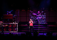 "Adam Levine, Matt Flynn (drums), PJ Morton (keys), Michael Madden (L)of Maroon 5 perform in support of their new album ""Hands All Over"" on July 25, 2011 at the Hollywood Bowl in Los Angelesr, California"
