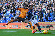 Wolverhampton Wanderers Dominic Iorfa & Birmingham City's Jacques Maghoma clash during the Sky Bet Championship match between Birmingham City and Wolverhampton Wanderers at St Andrews, Birmingham, England on 31 October 2015. Photo by Shane Healey.