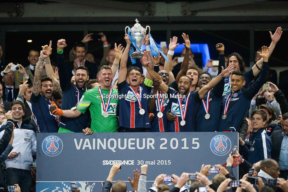 Joie PSG - Thiago Silva / Ezequiel LAVEZZI / Nicolas DOUCHEZ / Lucas MOURA - 30.05.2015 - Auxerre / Paris Saint Germain - Finale Coupe de France<br />Photo : Andre Ferreira / Icon Sport