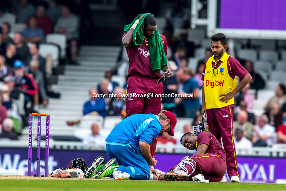 London,UK. 27 September 2017. Evin Lewis batting on his way to 176 before retiring injured. England v West Indies. In the fourth Royal London One Day International at the Kia Oval.