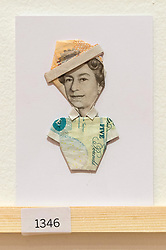 © Licensed to London News Pictures. 08/04/2016. A postcard featuring The Queen and a British £5 note on display at The Royal College of Arts(RCA) 22nd annual Stewarts Law RCA Secret exhibition of postcards designed by well-known artists and designers. London, UK. Photo credit: Ray Tang/LNP