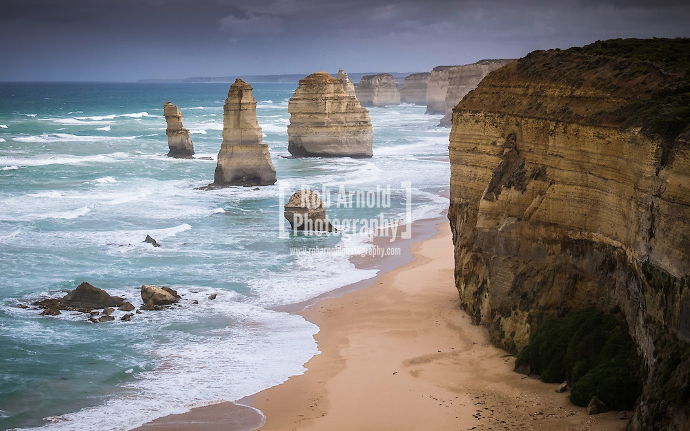 Stormy seas at the 12 apostles near Port Campbell in Victoria.