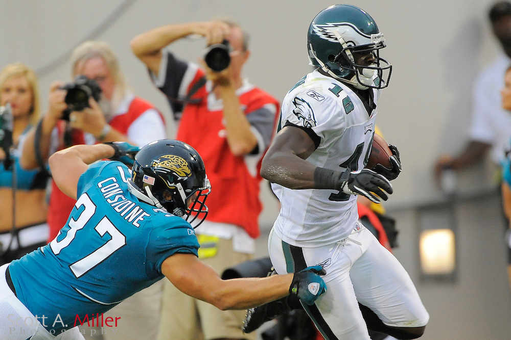 Sept. 26, 2010; Jacksonville, FL, USA; Philadelphia Eagles wide receiver Jeremy Maclin (18) catches a second-half touchdown pass as he is defended by Jacksonville Jaguars safety Sean Considine (37) at EverBank Field. ©2010 Scott A. Miller