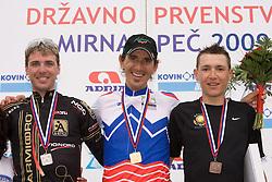 Jure Kocjan, Mitja Mahoric and Jani Brajkovic at Slovenian National Championships in Road cycling, 178 km, on June 28 2009, in Mirna Pec, Slovenia. (Photo by Vid Ponikvar / Sportida)