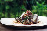 Grilled Spiced Tofu, Brown Rice Cake, Sambal Matah, Cashew Chili Sauce, Baby Eggplant, Smoked Cashews *heated dish