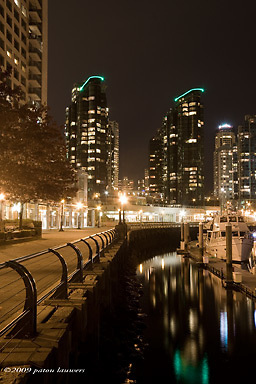 Vancouver at night by the waterfront