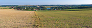 Panoramic view of the Somme River in France, overlooking the Village of Curlu.  Hard to believe that  hundreds of thousands of men were killed or wounded on these lands.  Somme Battlefield of World War 1.
