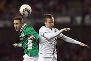 Aidan McGeady of Republic of Ireland and Aron Sigurdarson of Iceland during the International Friendly match at the Aviva Stadium, Dublin<br /> Picture by Lorraine O'Sullivan/Focus Images Ltd +353 872341584<br /> 28/03/2017