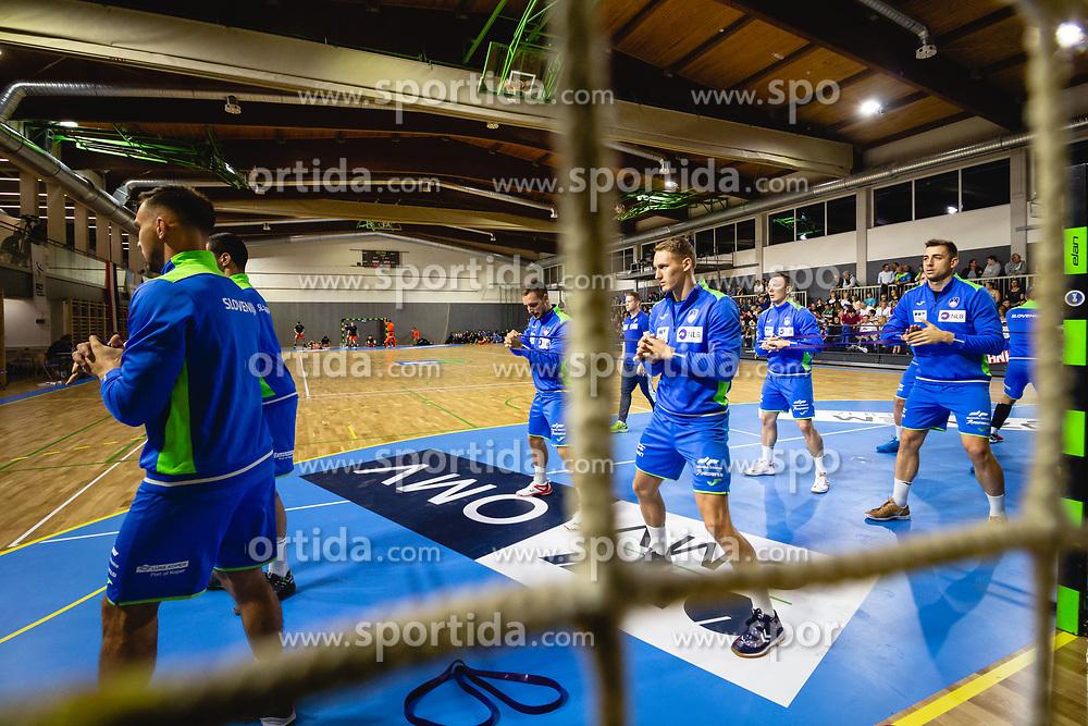 Players of Slovenia warming up before friendly handball match between Slovenia and Nederland, on October 25, 2019 in Športna dvorana Hardek, Ormož, Slovenia. Photo by Blaž Weindorfer / Sportida