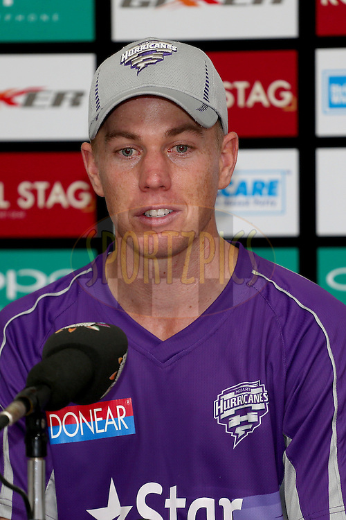 Xavier Doherty during a press conference after the first semi final match of the Oppo Champions League Twenty20 between the Kolkata Knight Riders and the Hobart Hurricanes held at the Rajiv Gandhi Cricket Stadium, Hyderabad, India on the 2nd October 2014. Photo by:  Jacques Rossouw / Sportzpics/ CLT20<br /> <br /> <br /> Image use is subject to the terms and conditions as laid out by the BCCI/ CLT20.  The terms and conditions can be downloaded here:<br /> <br /> http://sportzpics.photoshelter.com/gallery/CLT20-Image-Terms-and-Conditions-2014/G0000IfNJn535VPU/C0000QhhKadWcjYs