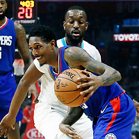 31 December 2017: LA Clippers guard Lou Williams (23) drives past Charlotte Hornets guard Kemba Walker (15) during the LA Clippers 106-98 victory over the Charlotte Hornets, at the Staples Center, Los Angeles, California, USA.