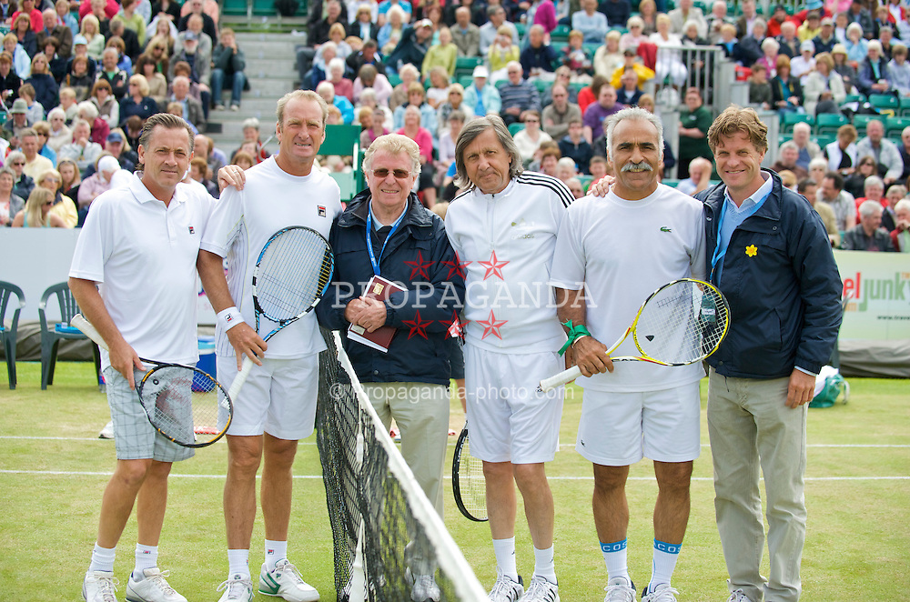 LIVERPOOL, ENGLAND - Sunday, June 21, 2009: Umpire Mike Jackson with L-R Mikael Pernfors (SWE), Peter McNamara (AUS), Ilie Nastase (ROU), Mansour Bahrami (IRN) and Tournament Director Anders Borg during Day Five of the Tradition ICAP Liverpool International Tennis Tournament 2009 at Calderstones Park. (Pic by David Rawcliffe/Propaganda)
