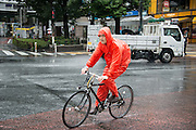 man riding a bicycle under the rain. Typhoon number 10 called Lionrock hit japan early on morning, in Tokyo. 30/08/2016-Tokyo, JAPAN