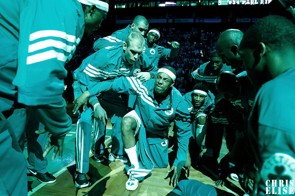 26 May 2012: Boston Celtics small forward Paul Pierce (34) is seen during the players introduction prior to the Boston Celtics 85-75 victory over the Philadelphia Sixer, in Game 7 of the Eastern Conference semifinals playoff series, at the TD Banknorth Garden, Boston, Massachusetts, USA.