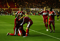 Photo: Andrew Unwin.<br /> Middlesbrough v Chelsea. The Barclays Premiership. 23/08/2006.<br /> Middlesbrough celebrate Mark Viduka's winning goal.