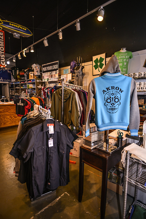 Item displays at Rubber City Clothing.