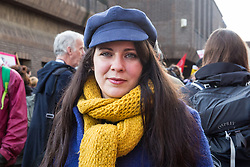 Chelmsford, UK. 6th February, 2019. Amelia Womack, Deputy Leader of the Green Party, joins activists from around the UK gathered to show solidarity with the Stansted 15 before their sentencing at Chelmsford Crown Court. The Stansted 15 were convicted on 10th December of an anti-terrorism offence under the Aviation and Maritime Security Act 1990 following non-violent direct action to try to prevent a Home Office deportation flight carrying precarious migrants to Nigeria, Ghana and Sierra Leone from taking off from Stansted airport in March 2017.
