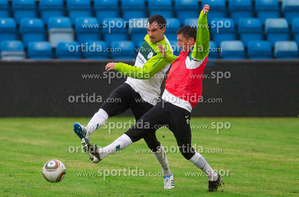 Branko Ilic vs Andraz Kirm during practice session of Slovenian National football team 1 day before EURO 2012 Qualifications game against Faroe Islands, on June 2, 2011 in Stadium Svangaskard, Toftir, Faroe Islands. (Photo By Vid Ponikvar / Sportida.com)