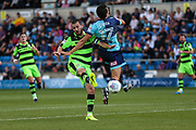 Forest Green Rovers Liam Noble(8) gets tackled heavily by Wycombe Wanderers Luke O'Nien(17) during the EFL Sky Bet League 2 match between Wycombe Wanderers and Forest Green Rovers at Adams Park, High Wycombe, England on 2 September 2017. Photo by Shane Healey.
