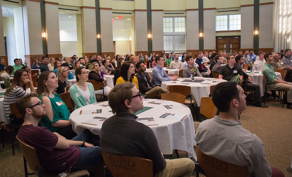 Students and staff from the College of Business listen to John Gainor, the CEO and president of Dairy Queen and a 1978 Ohio University alumnus, speak during Marketing Day on March 17, 2016.