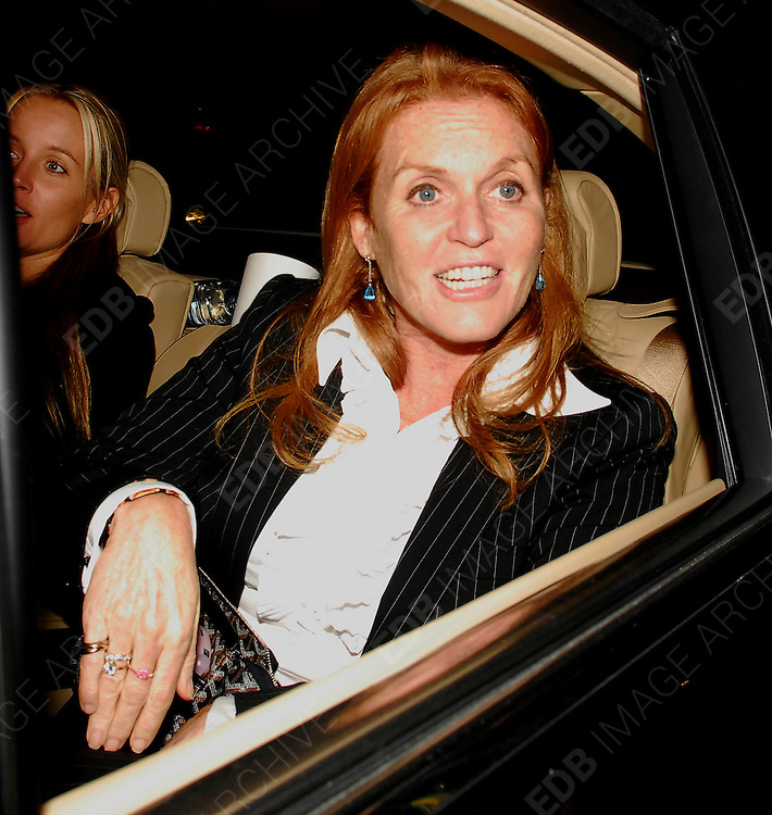 08.OCTOBER.2007. LONDON<br /> <br /> SARAH FURGUSON LEAVING CHINA TANG RESTAURANT AT THE DORCHESTER HOTEL AT 12.45AM WITH NEW BEST FRIEND DAVINIA TAYLOR.<br /> <br /> BYLINE: EDBIMAGEARCHIVE.CO.UK<br /> <br /> *THIS IMAGE IS STRICTLY FOR UK NEWSPAPERS AND MAGAZINES ONLY*<br /> *FOR WORLD WIDE SALES AND WEB USE PLEASE CONTACT EDBIMAGEARCHIVE - 0208 954 5968*