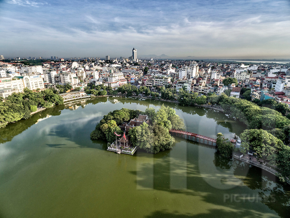 Aerial view of Ngoc Son Temple and Huc Bridge in Hoan Kiem Lake, Hanoi, Vietnam, Southeast Asia