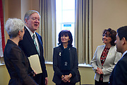 President Nellis and LJ Edmonds, VP of Global Affairs greet the delegation from Pontifical Catholic University of Ecuador.