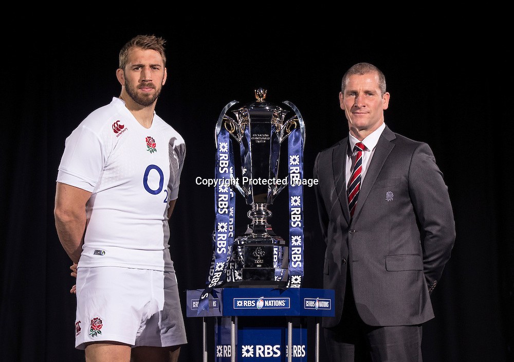 REPRO FREE***PRESS RELEASE NO REPRODUCTION FEE*** <br /> 2015 RBS 6 Nations Rugby Championship Launch, The Hurlingham Club, Ranelagh Gardens, London 28/1/2015<br /> England captain Chris Robshaw with England head Coach Stuart Lancaster<br /> Mandatory Credit &copy;INPHO/James Crombie
