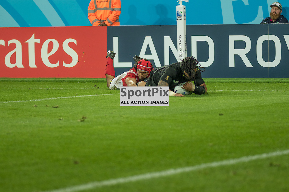 New Zealand # 12 Ma'a Nonu goes over for a try. <br /> New Zealand v Tonga, 9th October 2015