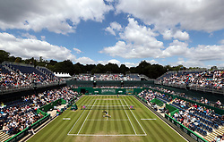 General view of the action as Australia's Daria Gavrilova (bottom of court) plays Czech Republic's Petra Kvitova during day four of the Nature Valley Classic at Edgbaston Priory, Birmingham.