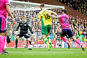 Norwich City midfielder Marco Stiepermann (18) bears down on goal during the EFL Sky Bet Championship match between Norwich City and Queens Park Rangers at Carrow Road, Norwich, England on 6 April 2019.