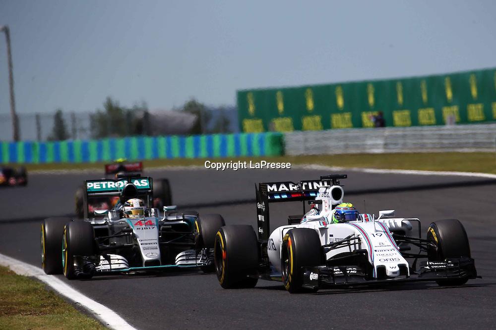 &copy; Photo4 / LaPresse<br /> 26/07/2015 Budapest, Hungary<br /> Sport <br /> Grand Prix Formula One Hungary 2015<br /> In the pic: Felipe Massa (BRA) Williams F1 Team FW37 and Lewis Hamilton (GBR) Mercedes AMG F1 W06