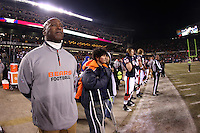 11 December 2008: Head coach Lovie Smith of the Chicago Bears listens to the National Anthem before the Bears 27-24 overtime victory over the New Orleans Saints at Soldier Field in Chicago, IL.