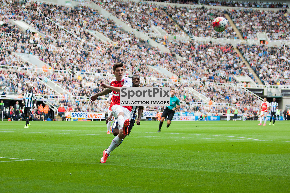 Hector Bellerin clears the ball in defence in the Newcastle United v Arsenal Barclays Premier League match at St James' Park Newcastle 29 August 2015<br />