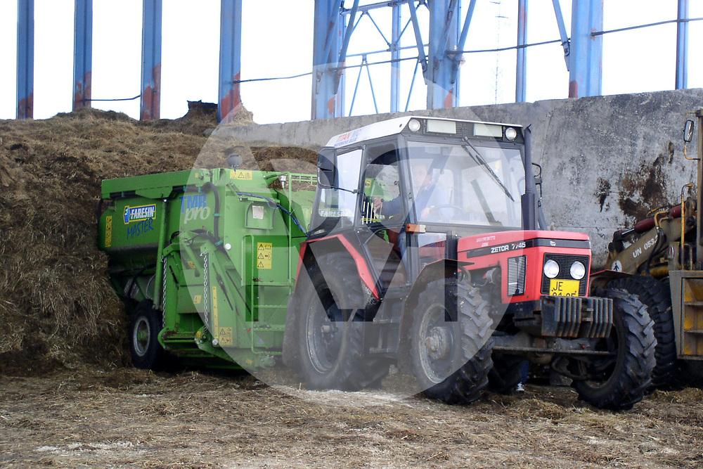 TSCHECHIEN - JESENIK - Ein Futtermischwagen wird mit Grassilo gefüllt - 28. Dezember 2003 © Raphael Hünerfauth - http://huenerfauth.ch