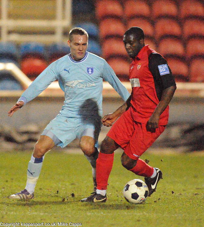 CHRIS HUSSEY, COVENTRY CITY, HOLDS OF KETTERING PATRICK NOUBISSIE, Kettering Town v Coventry City, Trust, Nene Park  Friendly Wednesday 15th Febuary 2012