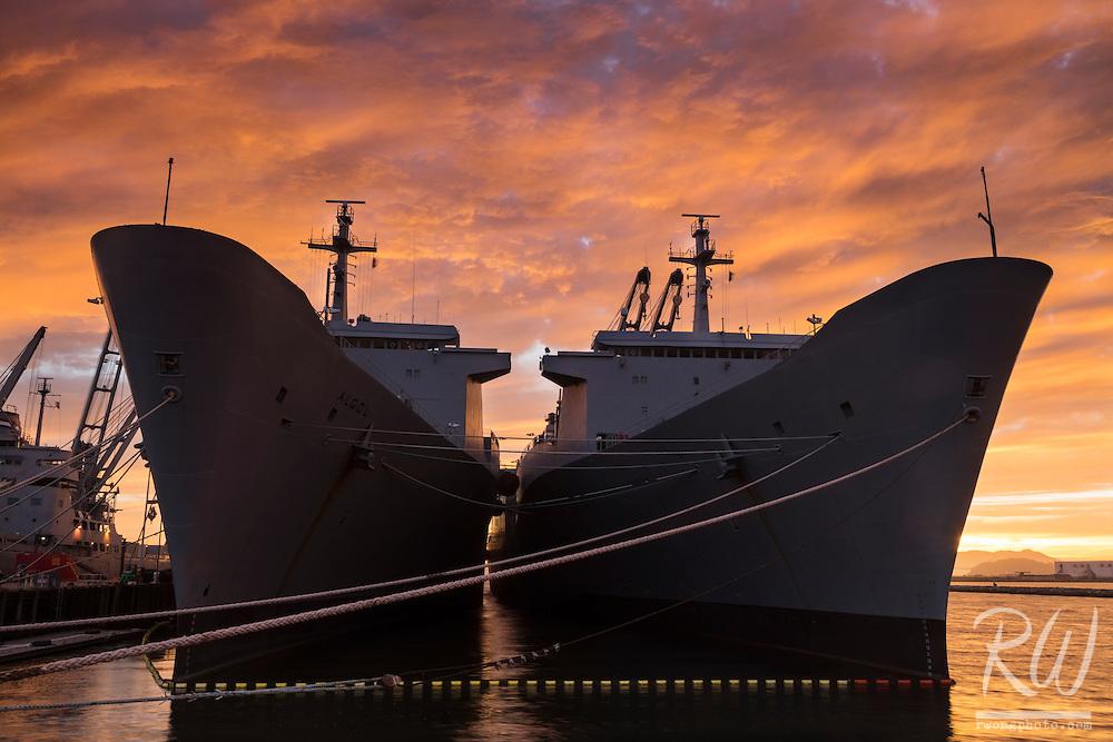 USS Algol (AKA-54) & USS Capella (AK-13) at Alameda Point, Alameda, California