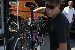 The bike of Anna van der Breggen (NED) is getting ready for Stage 10 of the Giro Rosa - a 124 km road race, starting and finishing in Torre Del Greco on July 9, 2017, in Naples, Italy. (Photo by Balint Hamvas/Velofocus.com)