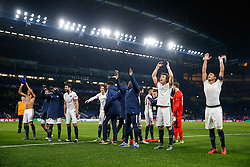 David Luiz and Thiago Silva celebrate after Paris Saint-Germain win the math 1-2 to progress to the last 8 of the competition - Mandatory byline: Rogan Thomson/JMP - 09/03/2016 - FOOTBALL - Stamford Bridge Stadium - London, England - Chelsea v Paris Saint-Germain - UEFA Champions League Round of 16: Second Leg.