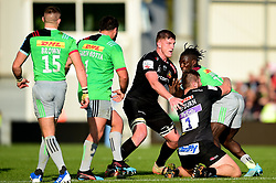 Gabriel Ibitoye of Harlequins is tackled by Alec Hepburn of Exeter Chiefs and Jacques Vermeulen of Exeter Chiefs - Mandatory by-line: Ryan Hiscott/JMP - 19/10/2019 - RUGBY - Sandy Park - Exeter, England - Exeter Chiefs v Harlequins - Gallagher Premiership Rugby