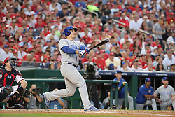October 7, 2017 - Washington, DC, USA - The Chicago Cubs' Anthony Rizzo (44) hits a two-run home run in the fourth inning against the Washington Nationals during Game 2 of the National League Division Series at Nationals Park in Washington, D.C., on Saturday, Oct. 7, 2017. (Credit Image: © Brian Cassella/TNS via ZUMA Wire)